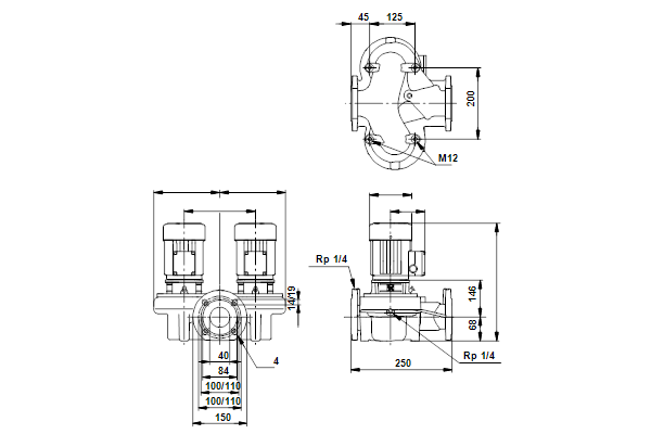 Габаритный чертеж насосов TPD 40-30/4 A-F-A-AUUE