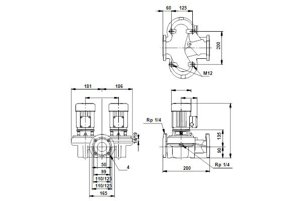 Габаритный чертеж насосов TPD 50-30/4 A-F-A-RUUE
