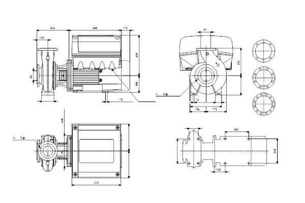 Габаритный чертеж насосов NBE 40-250/245 A-F-A-GQQE