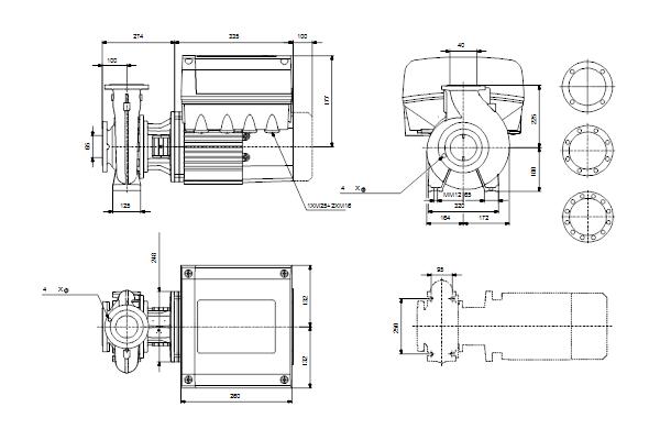 Габаритный чертеж насосов NBE 40-250/260 A-F-A-GQQE