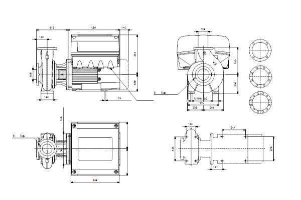 Габаритный чертеж насосов NBE 125-250/249 A-F-A-GQQE