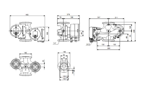 Габаритный чертеж насосов MAGNA3 D 40-60 F