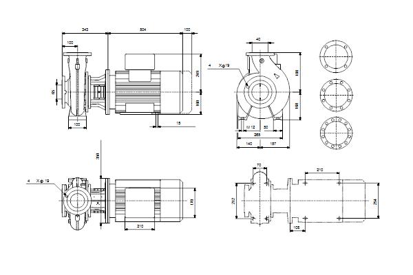 Габаритный чертеж насосов NB 40-200/206 A-F2-A-E-GQQE