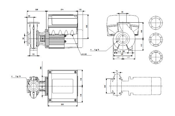 Габаритный чертеж насосов NBE 32-125/130 A-F2-A-E-GQQE