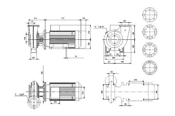Габаритный чертеж насосов NB 200-400/404 A-F1-A-E-GQQE