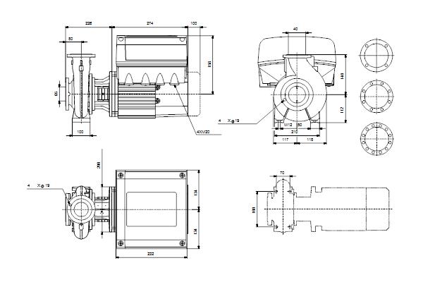 Габаритный чертеж насосов NBE 40-125/142 A-F2-A-E-BAQE
