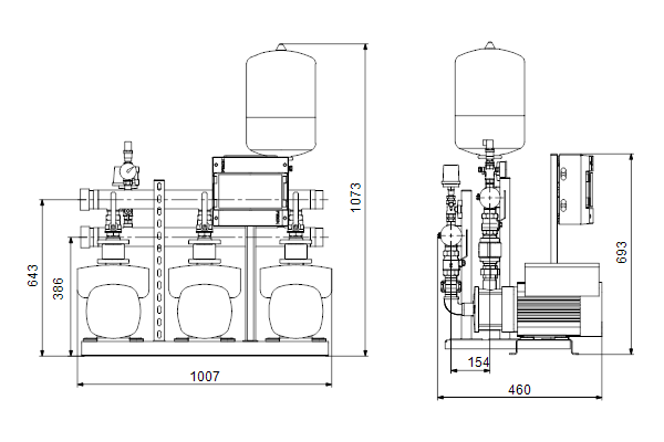 Габаритный чертеж насосов HYDRO MULTI-E 3 CME5-05