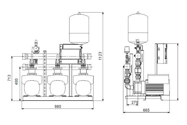 Габаритный чертеж насосов HYDRO MULTI-E 3 CME10-05