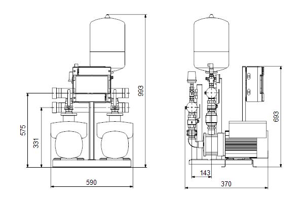 Габаритный чертеж насосов HYDRO MULTI-E 2 CME3-03