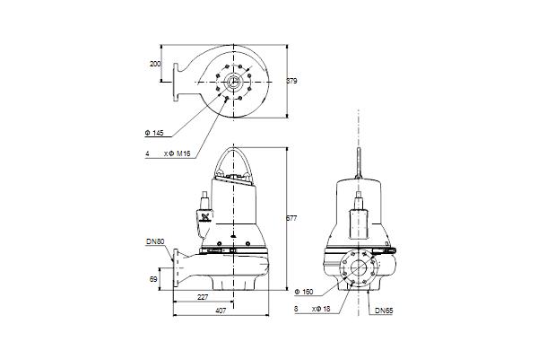 Габаритный чертеж насосов SL1.50.80.40.2.51D.C
