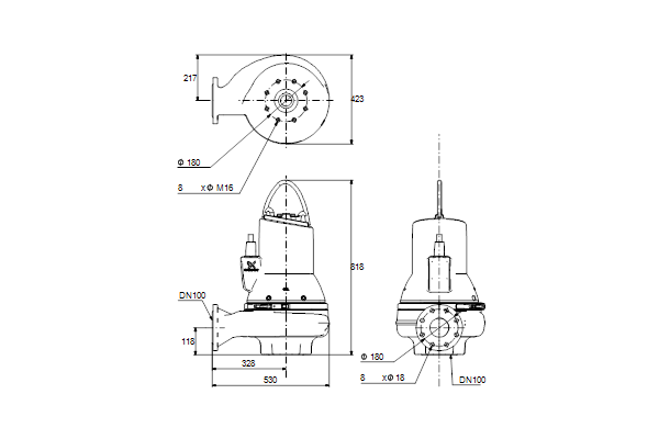 Габаритный чертеж насосов SL1.80.100.75.4.51D.C