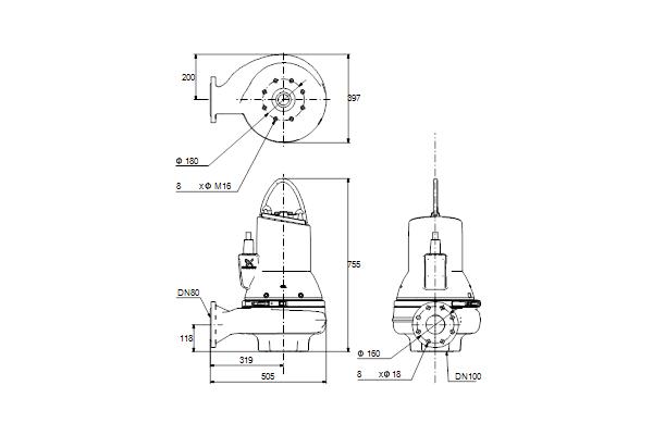 Габаритный чертеж насосов SL1.80.80.55.EX.4.51D.C