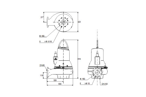 Габаритный чертеж насосов SL1.80.80.75.EX.4.51D.C