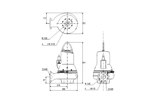 Габаритный чертеж насосов SL1.50.65.30.EX.2.50D.C
