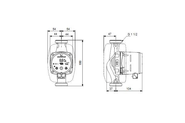 Габаритный чертеж насосов ALPHA2 25-80 N 180