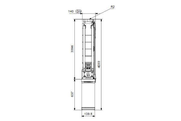 Габаритный чертеж насосов SP 9-56