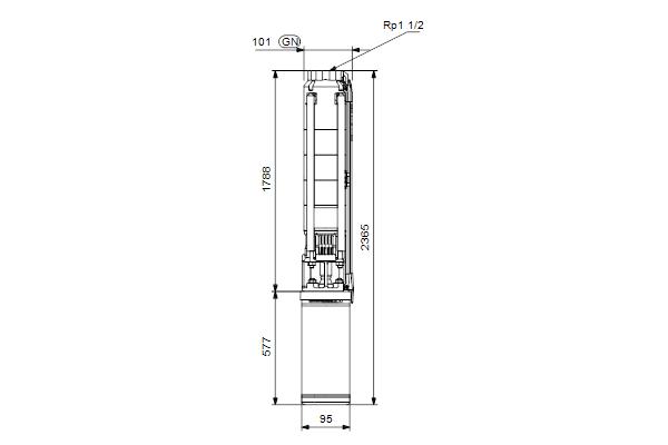 Габаритный чертеж насосов SP 7-31