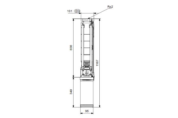 Габаритный чертеж насосов SP 14-8