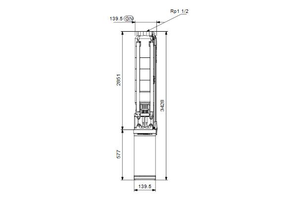 Габаритный чертеж насосов SP 7-51N