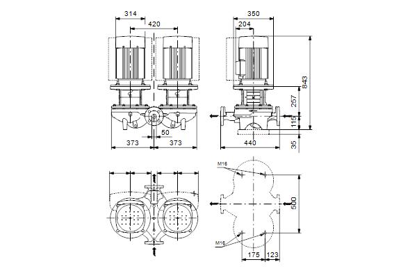 Габаритный чертеж насосов TPD 50-540/2 A-F-A-GQQE