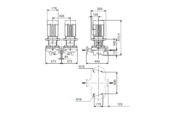 Габаритный чертеж насосов TPD 50-120/4 A-F-B-BAQE