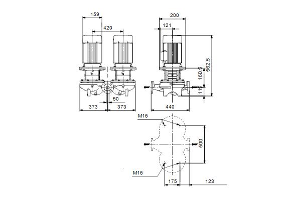 Габаритный чертеж насосов TPD 50-80/4 A-F-A-BAQE