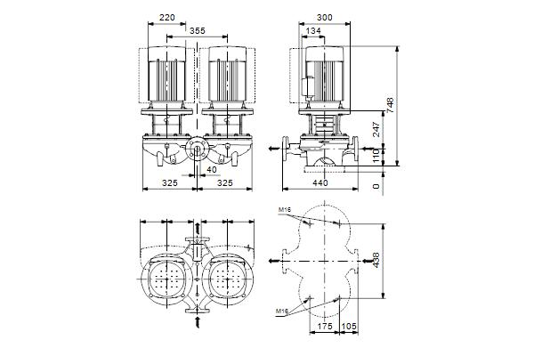 Габаритный чертеж насосов TPD 40-430/2 A-F-A-GQQE