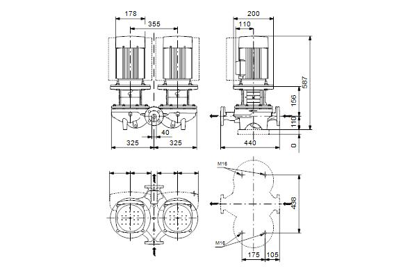 Габаритный чертеж насосов TPD 40-140/4 A-F-A-GQQE