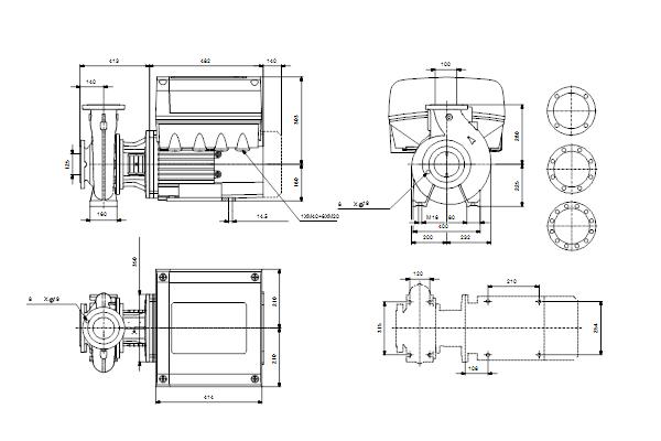 Габаритный чертеж насосов NBE 100-250/245 EUP A-F2-A-E-BAQE