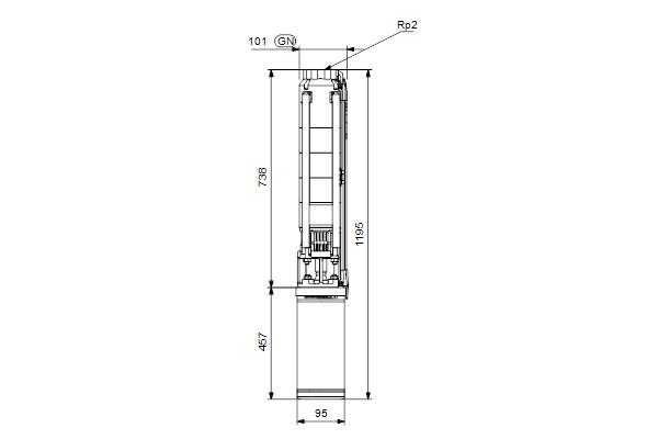 Габаритный чертеж насосов SP 9-10N