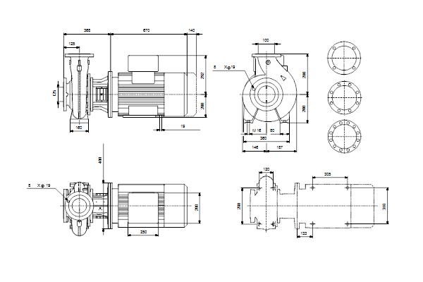 Габаритный чертеж насосов NB 100-160/176 EUP A-F2-A-E-GQQE