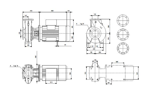 Габаритный чертеж насосов NB 100-250/229 EUP A-F2-A-E-GQQE