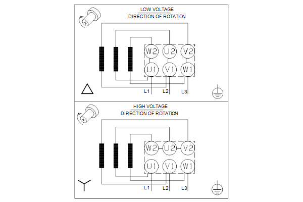 Схема подключений насосов TPD 40-140/4 A-F-A-GQQE