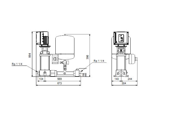 Габаритный чертеж насосов Hydro Solo E CRE 5-12 HQQE