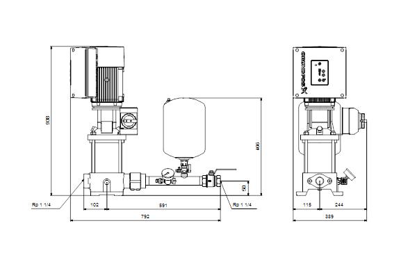 Габаритный чертеж насосов Hydro Solo E CRE 5-14 HQQE