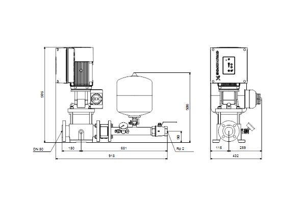 Габаритный чертеж насосов Hydro Solo E CRE 15-5 HQQE