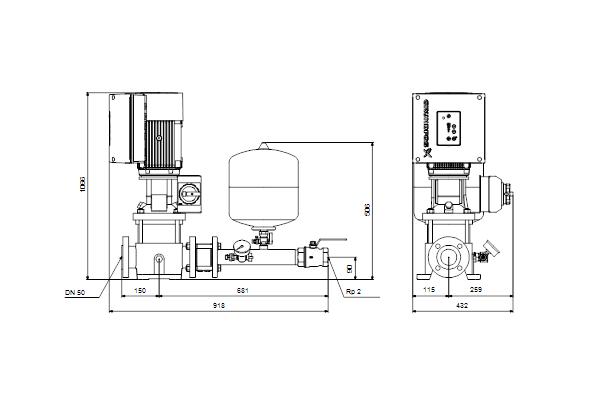 Габаритный чертеж насосов Hydro Solo E CRE 15-7 HQQE
