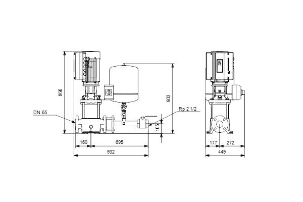 Габаритный чертеж насосов Hydro Solo E CRE 32-2 HQQE