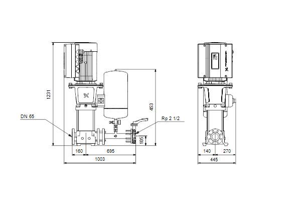 Габаритный чертеж насосов Hydro Solo E CRE 32-4 HQQE