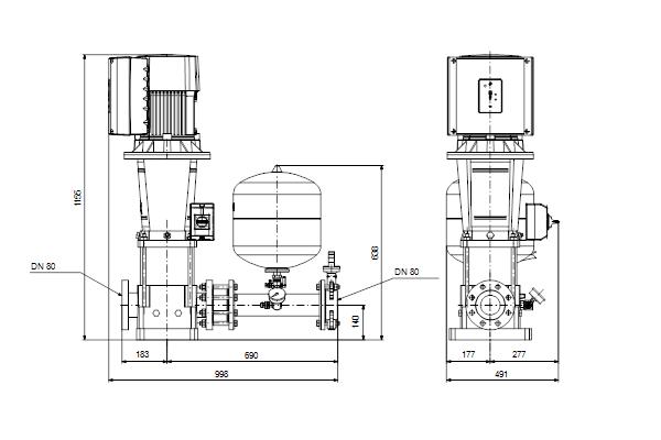 Габаритный чертеж насосов Hydro Solo E CRE 45-2 HQQE