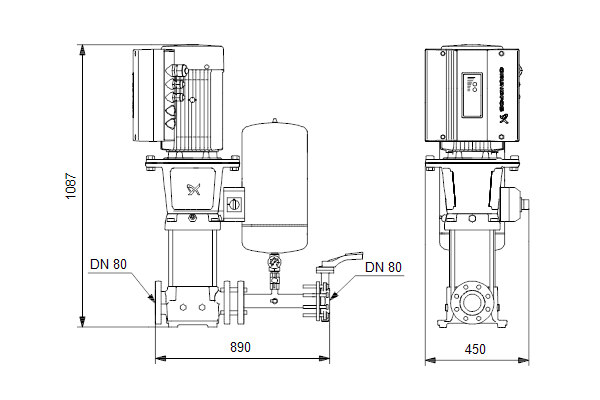 Габаритный чертеж насосов Hydro Solo E CRE 90-1 HQQE