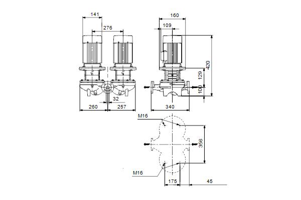 Габаритный чертеж насосов TPD 32-80/4 A-F-A-BQQE