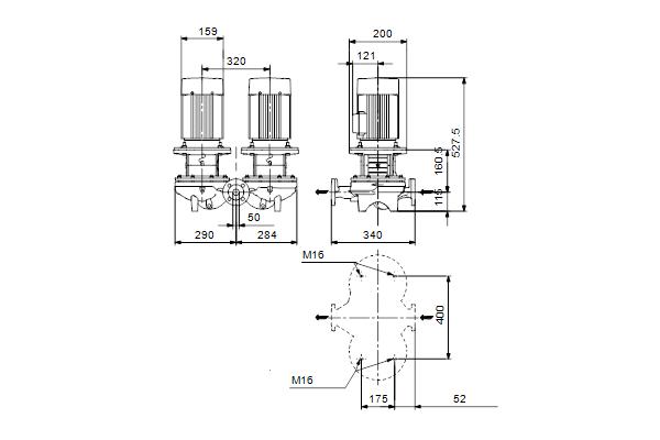 Габаритный чертеж насосов TPD 50-90/4 A-F-A-BQQE