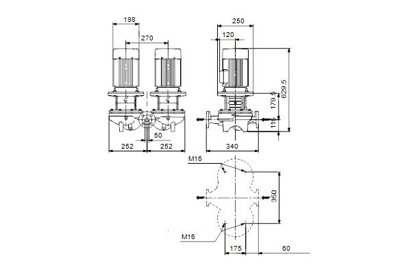 Габаритный чертеж насосов TPD 50-290/2 A-F-A-BQQE