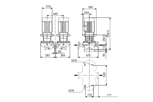 Габаритный чертеж насосов TPD 65-720/2 A-F-A-BQQE