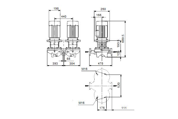 Габаритный чертеж насосов TPD 65-170/4 A-F-A-BQQE