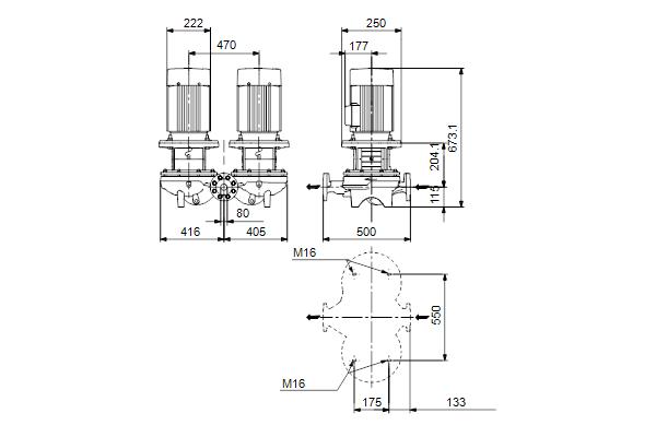 Габаритный чертеж насосов TPD 80-170/4 A-F-A-BQQE