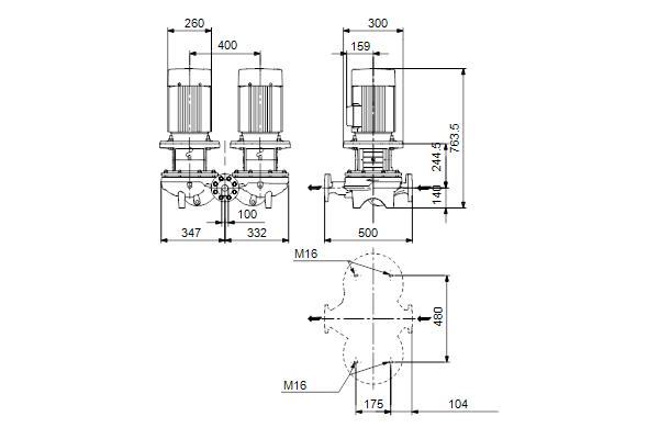 Габаритный чертеж насосов TPD 100-240/2 A-F-A-BQQE
