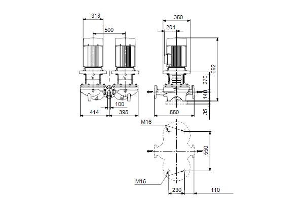 Габаритный чертеж насосов TPD 100-310/2 A-F-A-BQQE