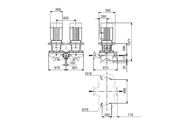 Габаритный чертеж насосов TPD 100-410/4 A-F-A-BQQE